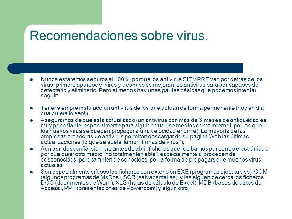 Recomendaciones sobre virus. Nunca estaremos seguros al 100%, porque los antivirus SIEMPRE van por detrás de los virus: primero aparece el virus y des