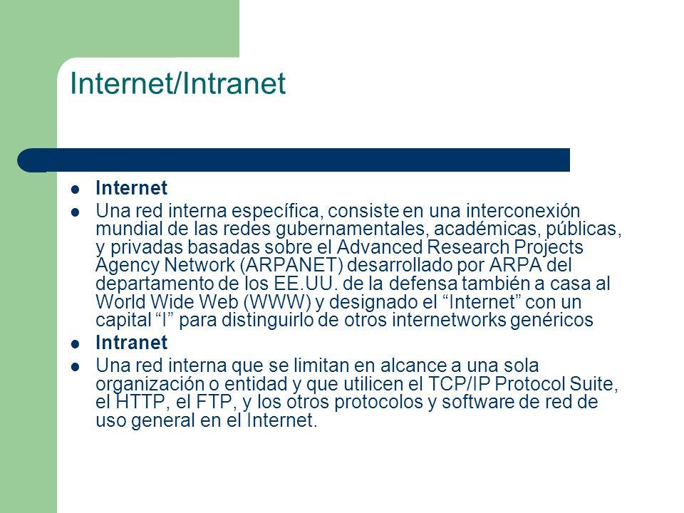 Internet/Intranet Internet Una red interna específica, consiste en una interconexión mundial de las redes gubernamentales, académicas, públicas, y pri