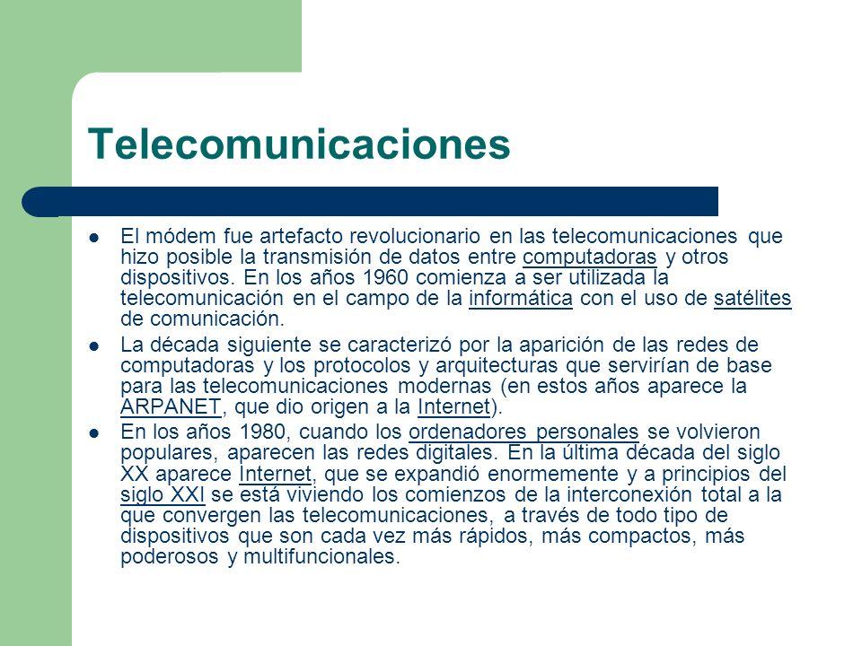 Telecomunicaciones El módem fue artefacto revolucionario en las telecomunicaciones que hizo posible la transmisión de datos entre computadoras y otros