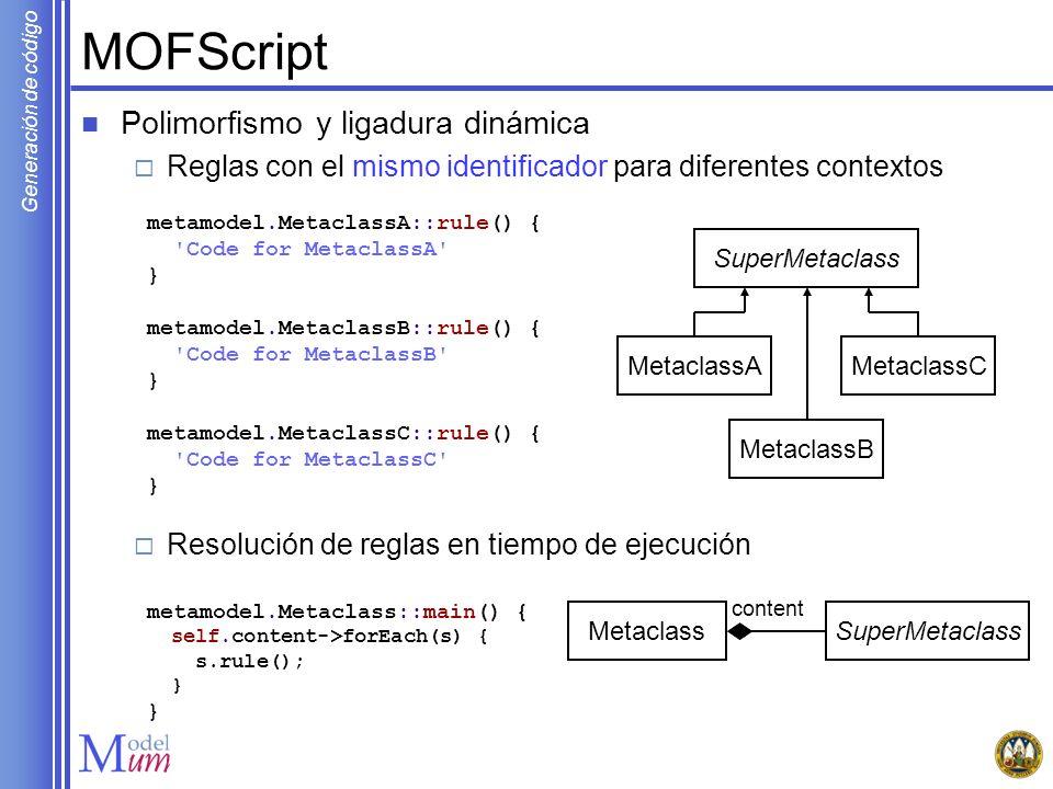 Generación de código MOFScript Polimorfismo y ligadura dinámica Reglas con el mismo identificador para diferentes contextos Resolución de reglas en ti