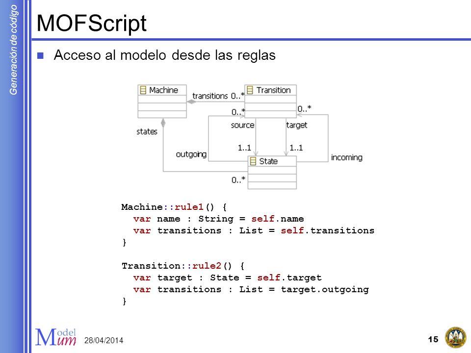 Generación de código MOFScript Acceso al modelo desde las reglas 15 28/04/2014 Machine::rule1() { var name : String = self.name var transitions : List