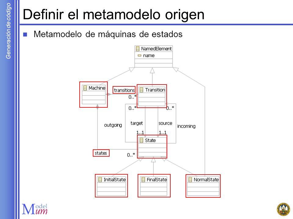 Generación de código Definir el metamodelo origen Metamodelo de máquinas de estados
