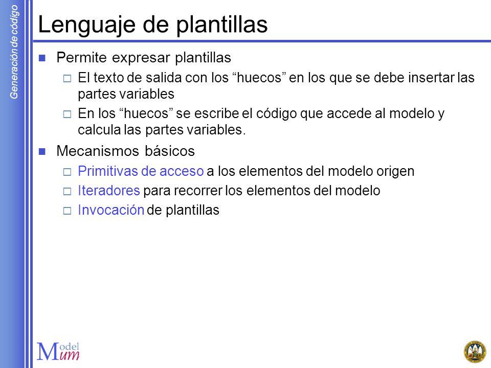 Generación de código Sesión guiada Arquitectura Java Swing // Creacion de menus JMenu fileMenu = new JMenu( File ); fileMenu.add(new JMenuItem( New )); fileMenu.add(new JMenuItem( Close )); // Creacion de barra de menu JMenuBar menuBar = new JMenuBar(); menuBar.add(fileMenu); // Creacion de ventana e inclusion de barra de menu JFrame app = new JFrame( App ); app.setJMenuBar(menuBar);