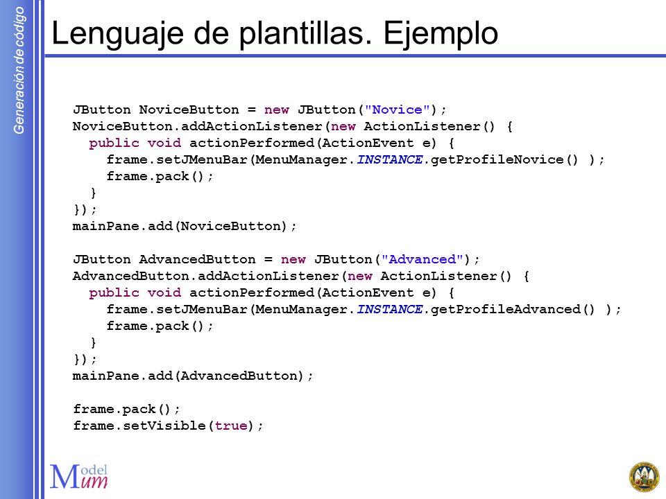 Generación de código Definir la transformación MOFScript Estado Final Ejemplo de código DOT a generar: End[shape=doublecircle,label= ,width=0.2,fillcolor=black, style=filled]; Regla MOFScript: Estado normal Ejemplo de código DOT a generar: Normal_State[label= Normal State ,shape=ellipse]; Regla MOFScript: stateMM.NormalState::mapState() { tab(1) self.getName() [label= self.name ,shape=ellipse]; newline(1) } stateMM.FinalState::mapState() { tab(1) self.getName() [shape=doublecircle,label= , width=0.2,fillcolor=black,style=filled]; newline(1) }