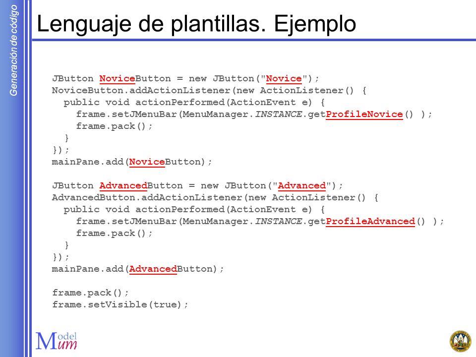 Generación de código Definir la transformación MOFScript Reglas auxiliares para los nombres de los estados stateMM.InitialState::getName() : String { result = Start } stateMM.FinalState::getName() : String { result = End } stateMM.NormalState::getName() : String { result = self.name.replace( , _ ) }