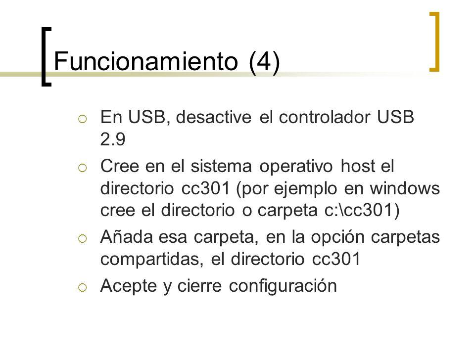 Funcionamiento (4) En USB, desactive el controlador USB 2.9 Cree en el sistema operativo host el directorio cc301 (por ejemplo en windows cree el dire