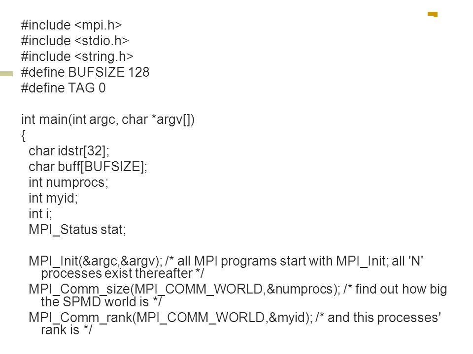 #include #define BUFSIZE 128 #define TAG 0 int main(int argc, char *argv[]) { char idstr[32]; char buff[BUFSIZE]; int numprocs; int myid; int i; MPI_S