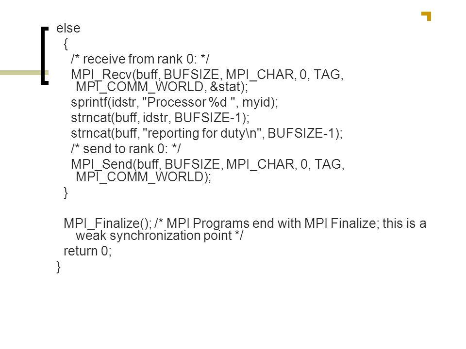 else { /* receive from rank 0: */ MPI_Recv(buff, BUFSIZE, MPI_CHAR, 0, TAG, MPI_COMM_WORLD, &stat); sprintf(idstr,