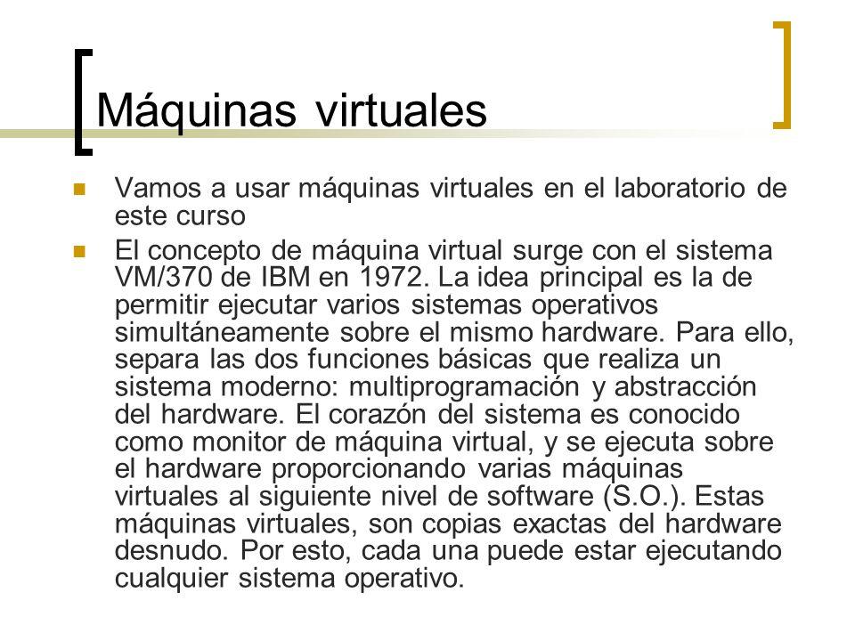 Máquinas virtuales Vamos a usar máquinas virtuales en el laboratorio de este curso El concepto de máquina virtual surge con el sistema VM/370 de IBM e