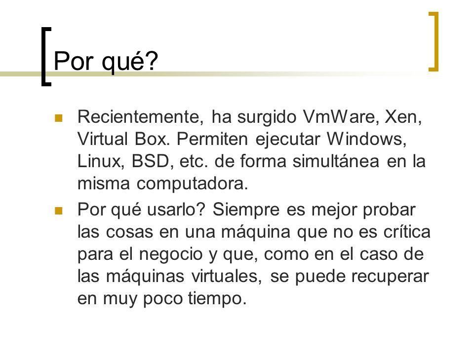 Por qué? Recientemente, ha surgido VmWare, Xen, Virtual Box. Permiten ejecutar Windows, Linux, BSD, etc. de forma simultánea en la misma computadora.