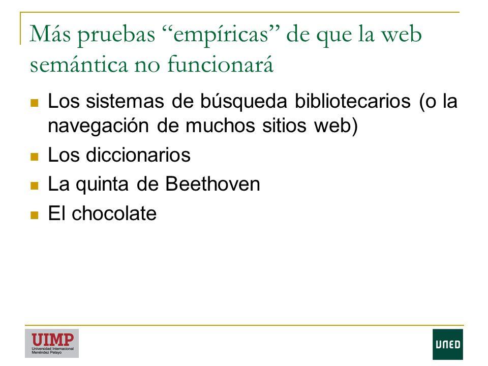 Más pruebas empíricas de que la web semántica no funcionará Los sistemas de búsqueda bibliotecarios (o la navegación de muchos sitios web) Los diccionarios La quinta de Beethoven El chocolate
