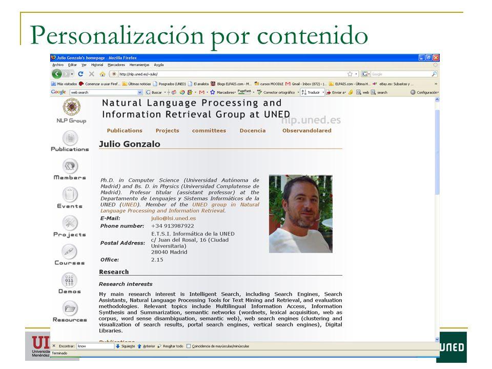 Personalización por contenido
