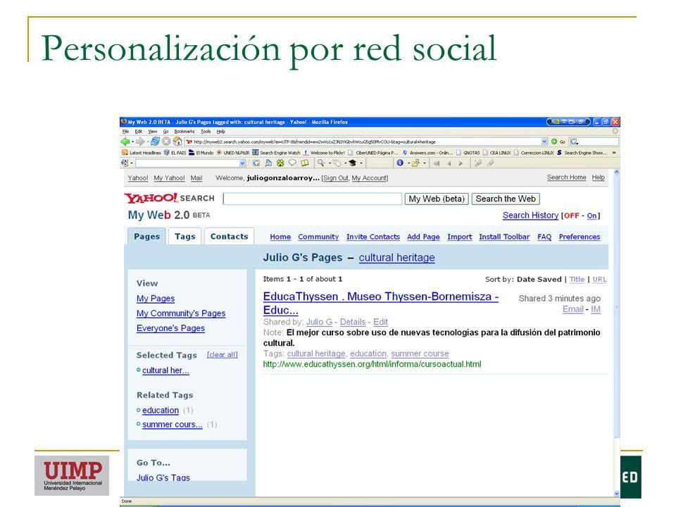 Personalización por red social
