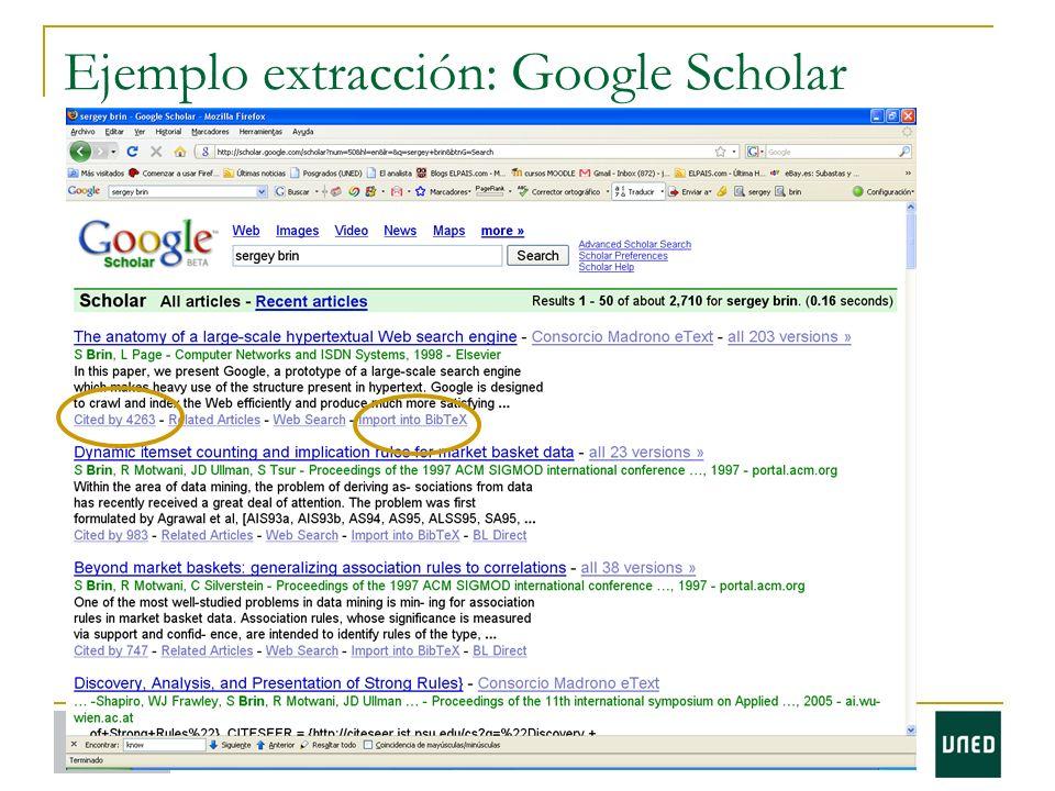 Ejemplo extracción: Google Scholar