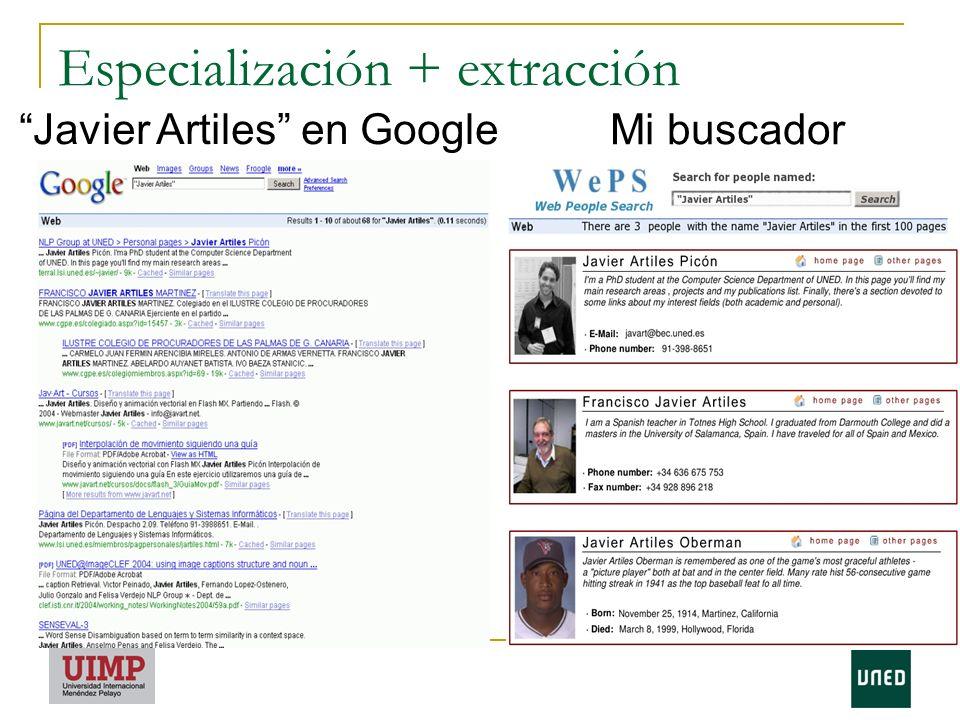 Especialización + extracción Javier Artiles en Google Mi buscador