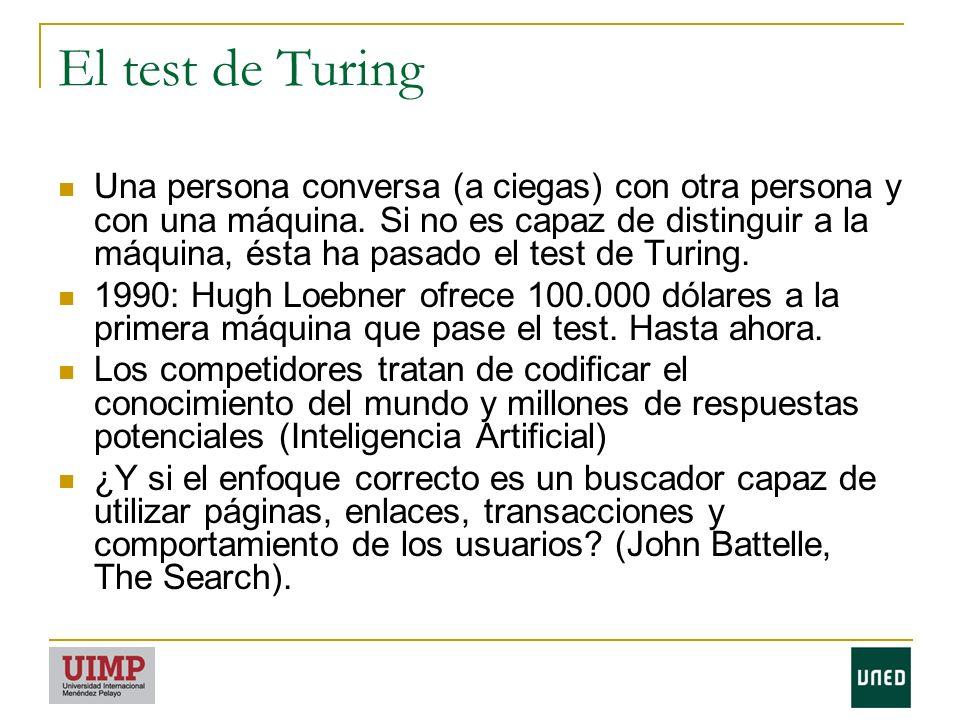 El test de Turing Una persona conversa (a ciegas) con otra persona y con una máquina.