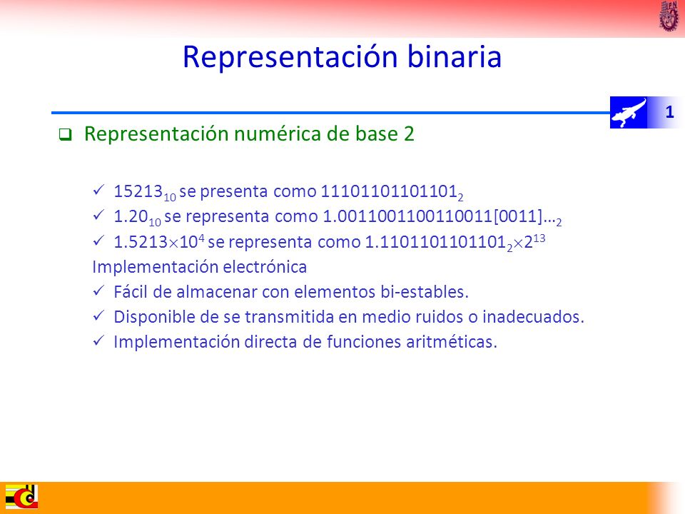 1 Representación binaria Representación numérica de base 2 15213 10 se presenta como 11101101101101 2 1.20 10 se representa como 1.0011001100110011[00
