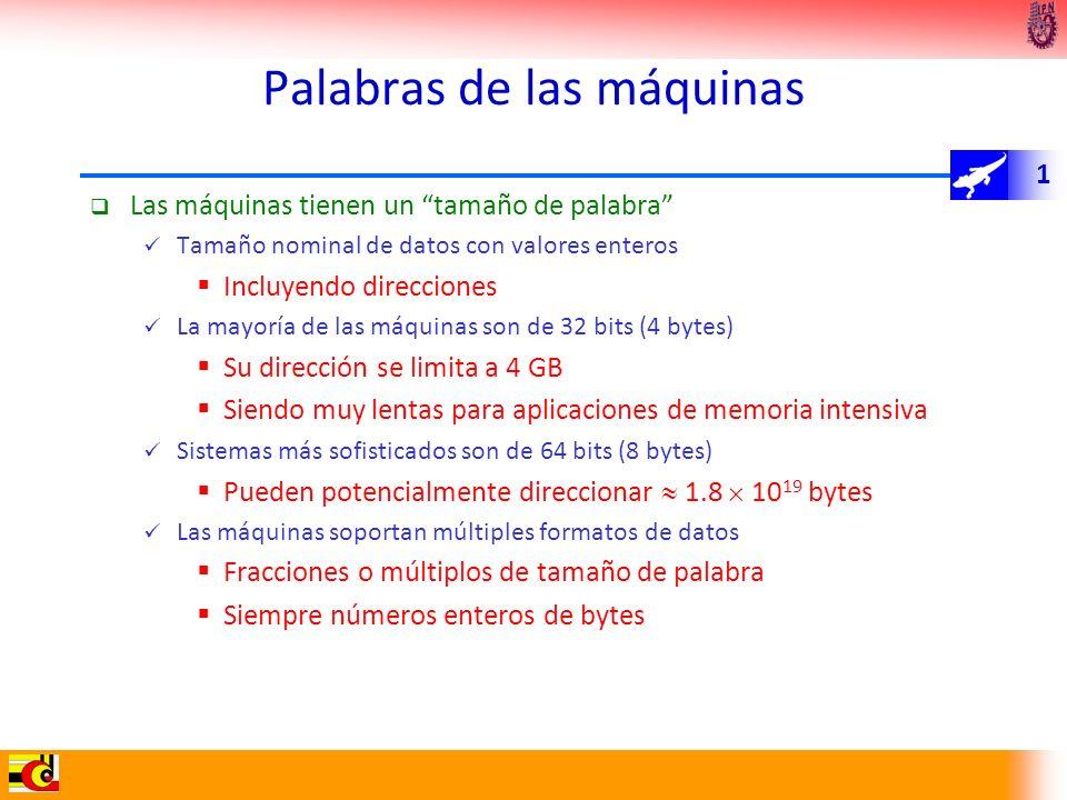 1 Palabras de las máquinas Las máquinas tienen un tamaño de palabra Tamaño nominal de datos con valores enteros Incluyendo direcciones La mayoría de l