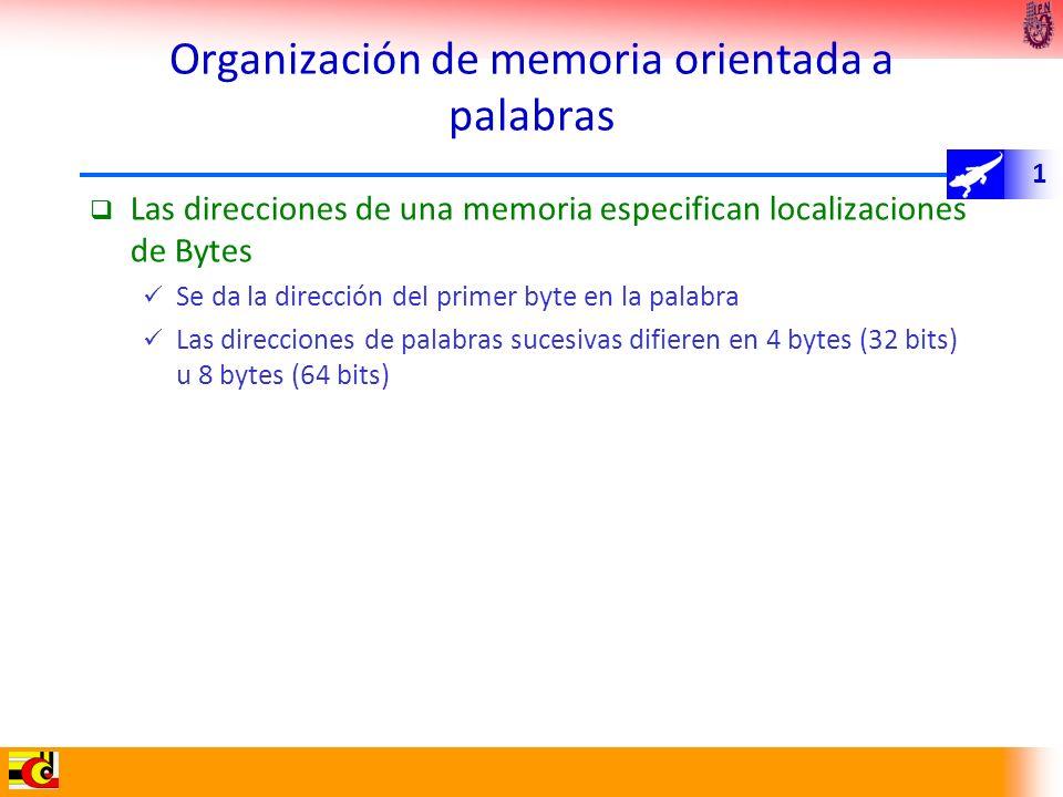 1 Organización de memoria orientada a palabras Las direcciones de una memoria especifican localizaciones de Bytes Se da la dirección del primer byte e