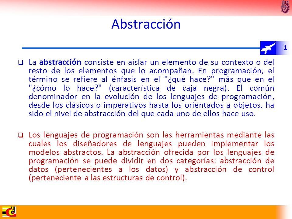 1 La abstracción consiste en aislar un elemento de su contexto o del resto de los elementos que lo acompañan. En programación, el término se refiere a