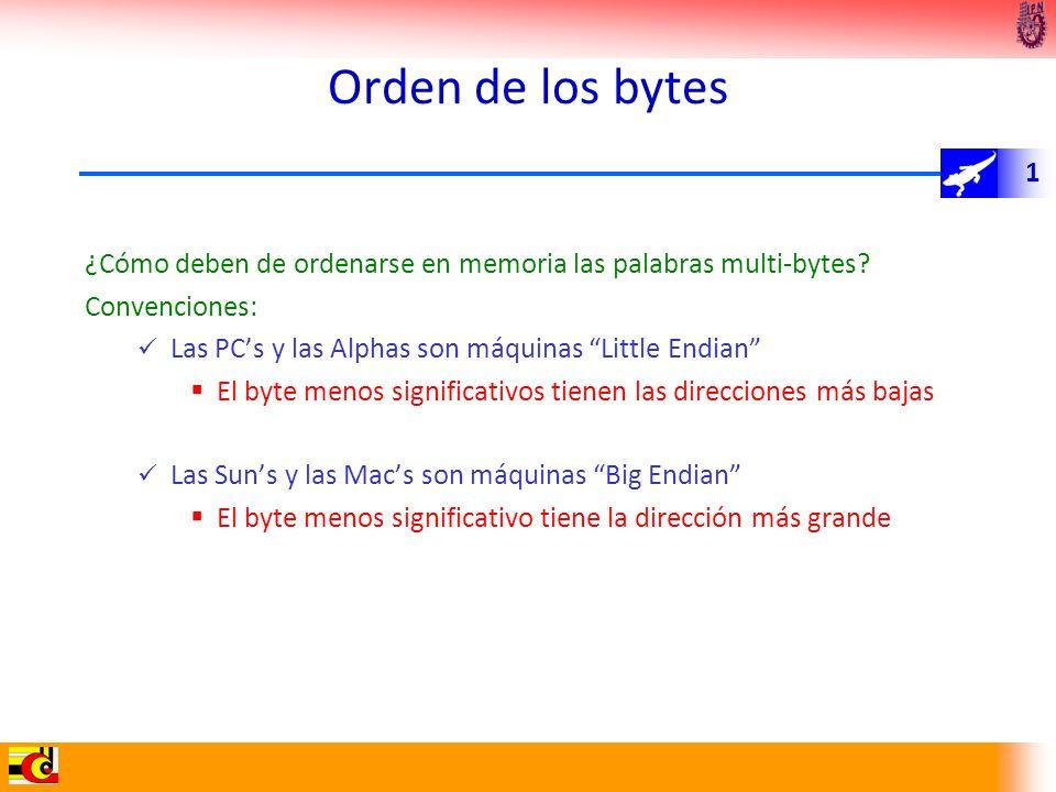 1 Orden de los bytes ¿Cómo deben de ordenarse en memoria las palabras multi-bytes? Convenciones: Las PCs y las Alphas son máquinas Little Endian El by