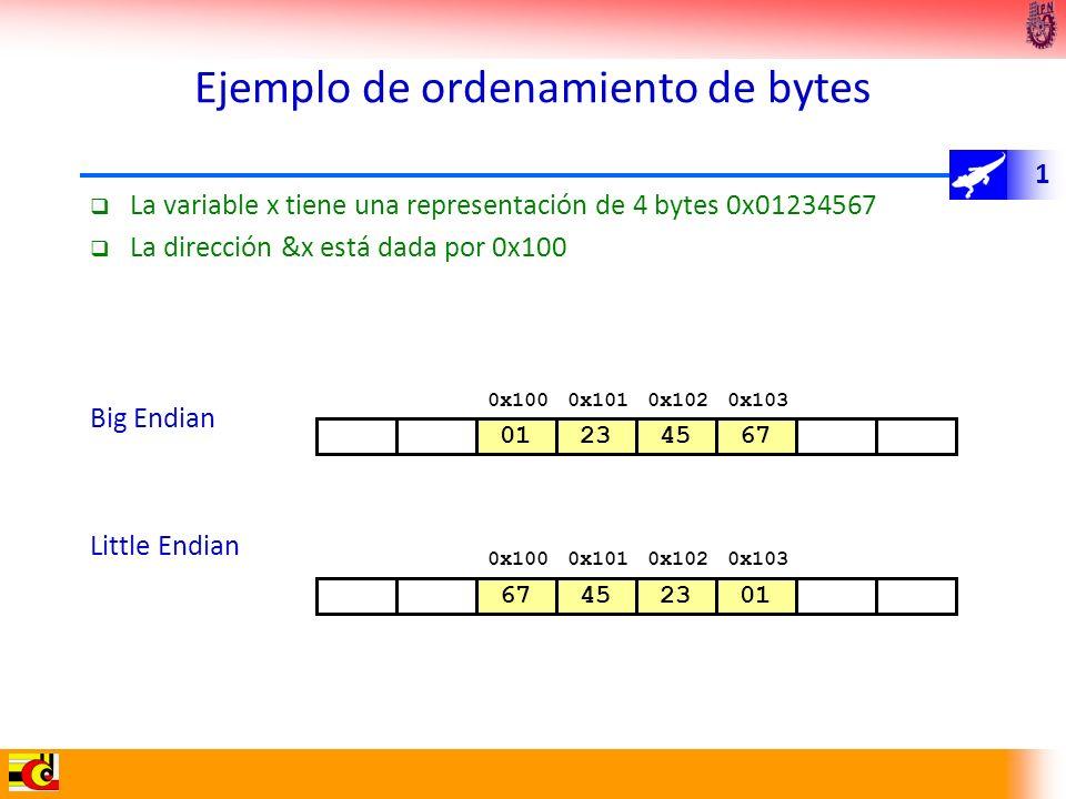 1 Ejemplo de ordenamiento de bytes La variable x tiene una representación de 4 bytes 0x01234567 La dirección &x está dada por 0x100 Big Endian Little