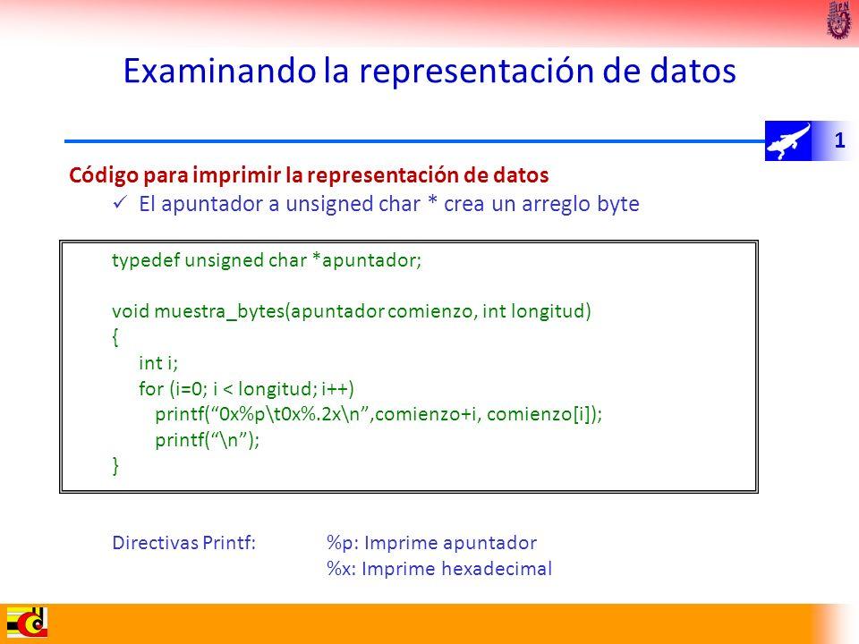 1 Examinando la representación de datos Código para imprimir la representación de datos El apuntador a unsigned char * crea un arreglo byte typedef un