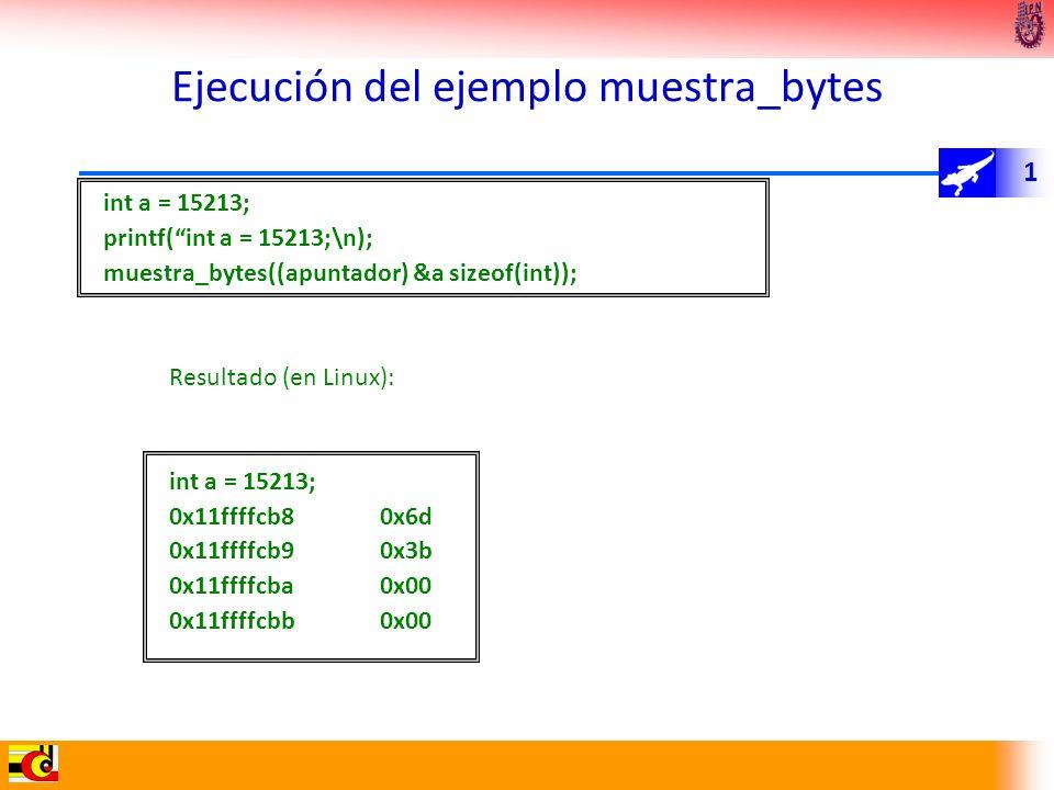 1 Ejecución del ejemplo muestra_bytes int a = 15213; printf(int a = 15213;\n); muestra_bytes((apuntador) &a sizeof(int)); Resultado (en Linux): int a