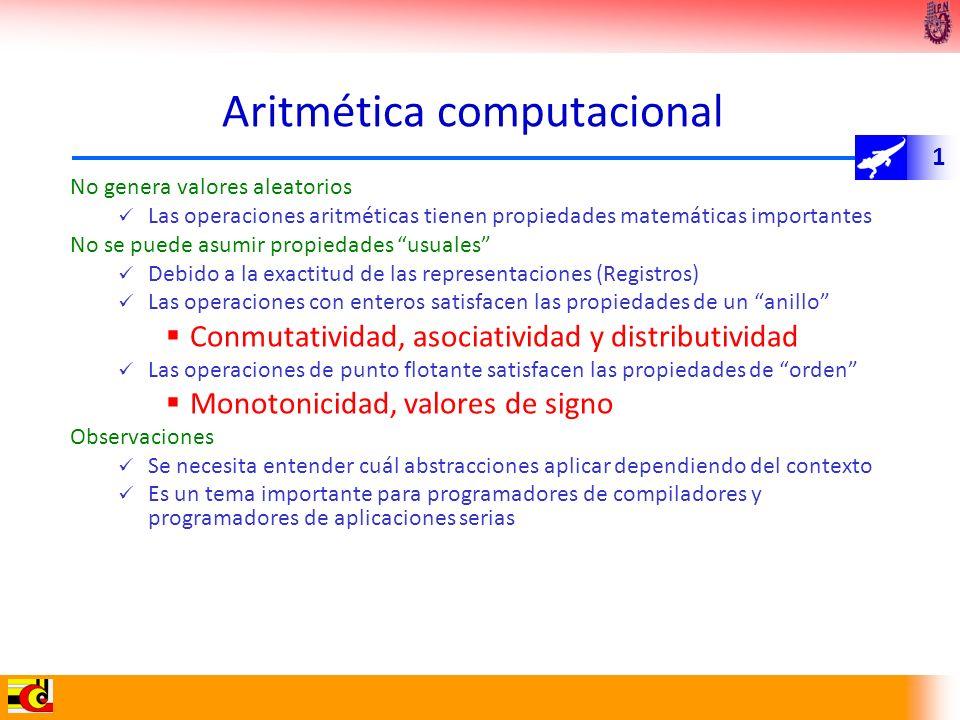 1 Aritmética computacional No genera valores aleatorios Las operaciones aritméticas tienen propiedades matemáticas importantes No se puede asumir prop