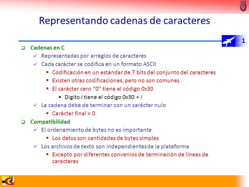 1 Representando cadenas de caracteres Cadenas en C Representadas por arreglos de caracteres Cada carácter se codifica en un formato ASCII Codificación