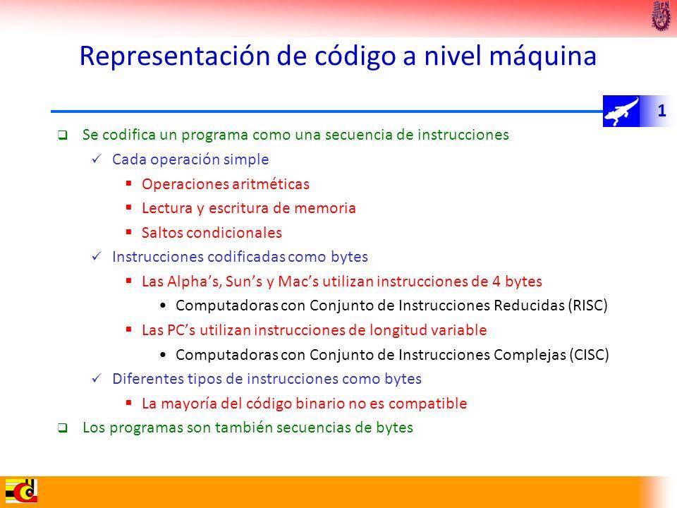1 Representación de código a nivel máquina Se codifica un programa como una secuencia de instrucciones Cada operación simple Operaciones aritméticas L