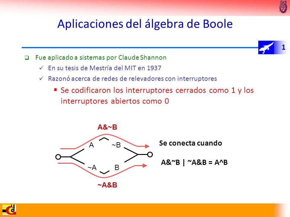 1 Aplicaciones del álgebra de Boole Fue aplicado a sistemas por Claude Shannon En su tesis de Mestría del MIT en 1937 Razonó acerca de redes de releva