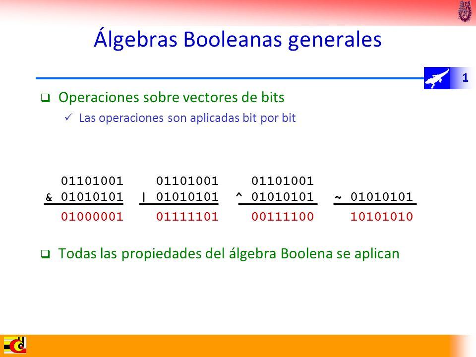 1 Álgebras Booleanas generales Operaciones sobre vectores de bits Las operaciones son aplicadas bit por bit Todas las propiedades del álgebra Boolena