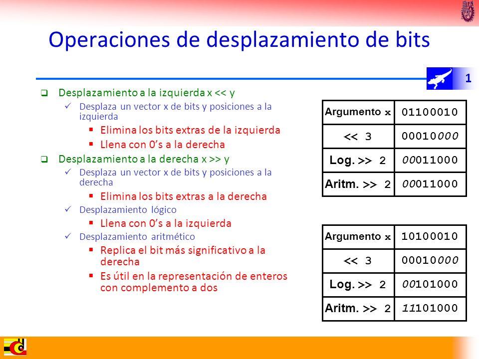 1 Operaciones de desplazamiento de bits Desplazamiento a la izquierda x << y Desplaza un vector x de bits y posiciones a la izquierda Elimina los bits