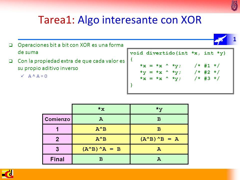 1 Tarea1: Algo interesante con XOR Operaciones bit a bit con XOR es una forma de suma Con la propiedad extra de que cada valor es su propio aditivo in