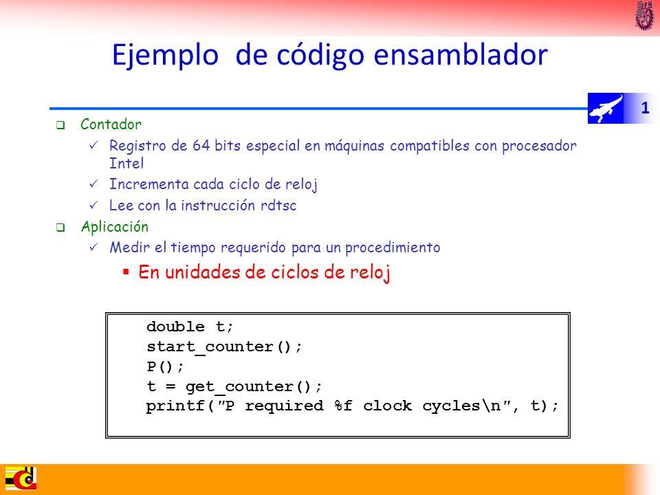 1 Ejemplo de código ensamblador Contador Registro de 64 bits especial en máquinas compatibles con procesador Intel Incrementa cada ciclo de reloj Lee