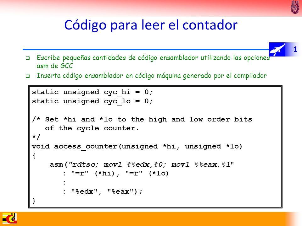 1 Código para leer el contador Escribe pequeñas cantidades de código ensamblador utilizando las opciones asm de GCC Inserta código ensamblador en códi