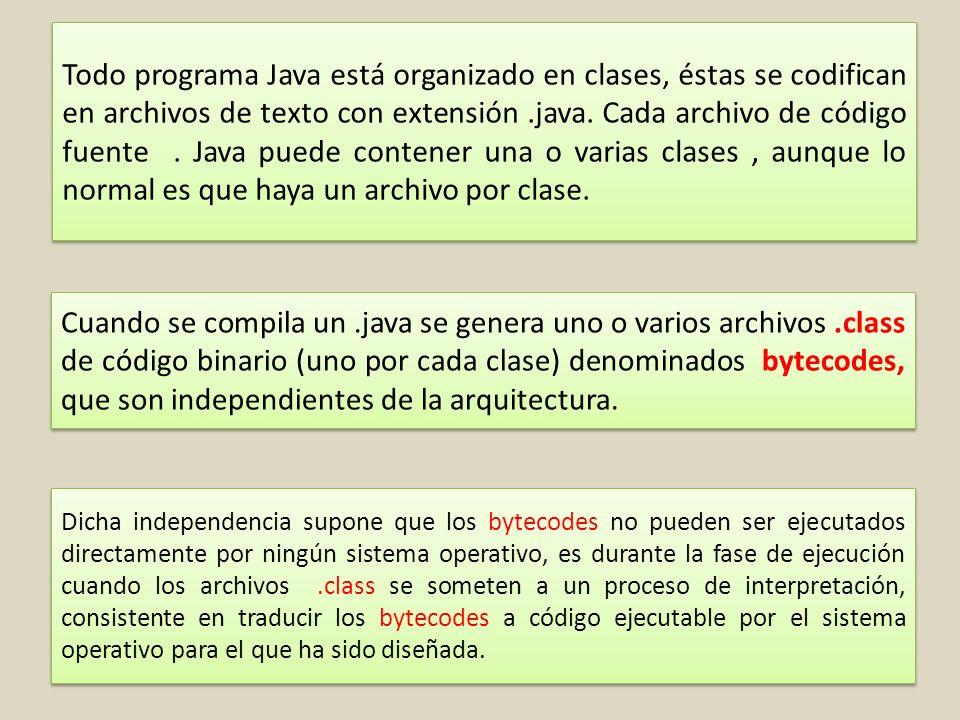 Todo programa Java está organizado en clases, éstas se codifican en archivos de texto con extensión.java.
