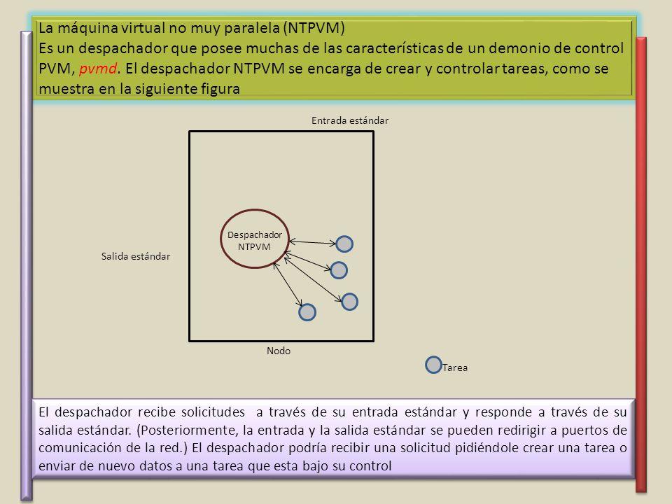 La máquina virtual no muy paralela (NTPVM) Es un despachador que posee muchas de las características de un demonio de control PVM, pvmd.