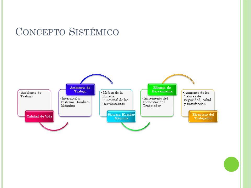 Ambiente de Trabajo Calidad de Vida Interacción Sistema Hombre- Máquina Ambiente de Trabajo Mejora de la Eficacia Funcional de las Herramientas Sistem