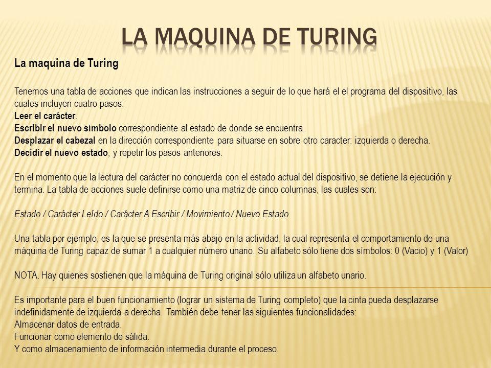 La maquina de Turing Tenemos una tabla de acciones que indican las instrucciones a seguir de lo que hará el el programa del dispositivo, las cuales in