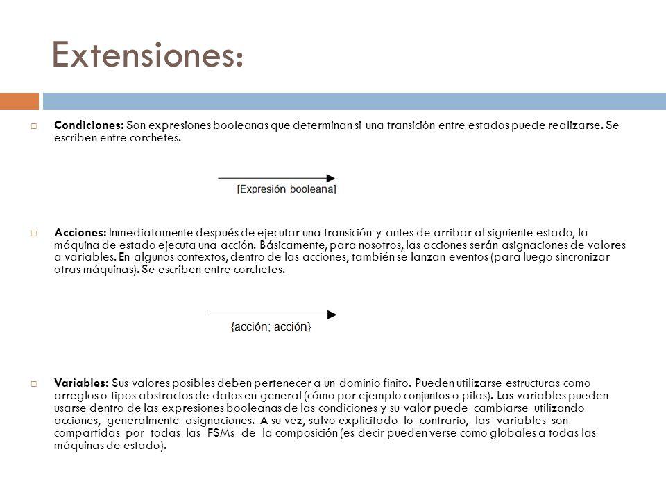 Extensiones: Condiciones: Son expresiones booleanas que determinan si una transición entre estados puede realizarse. Se escriben entre corchetes. Acci