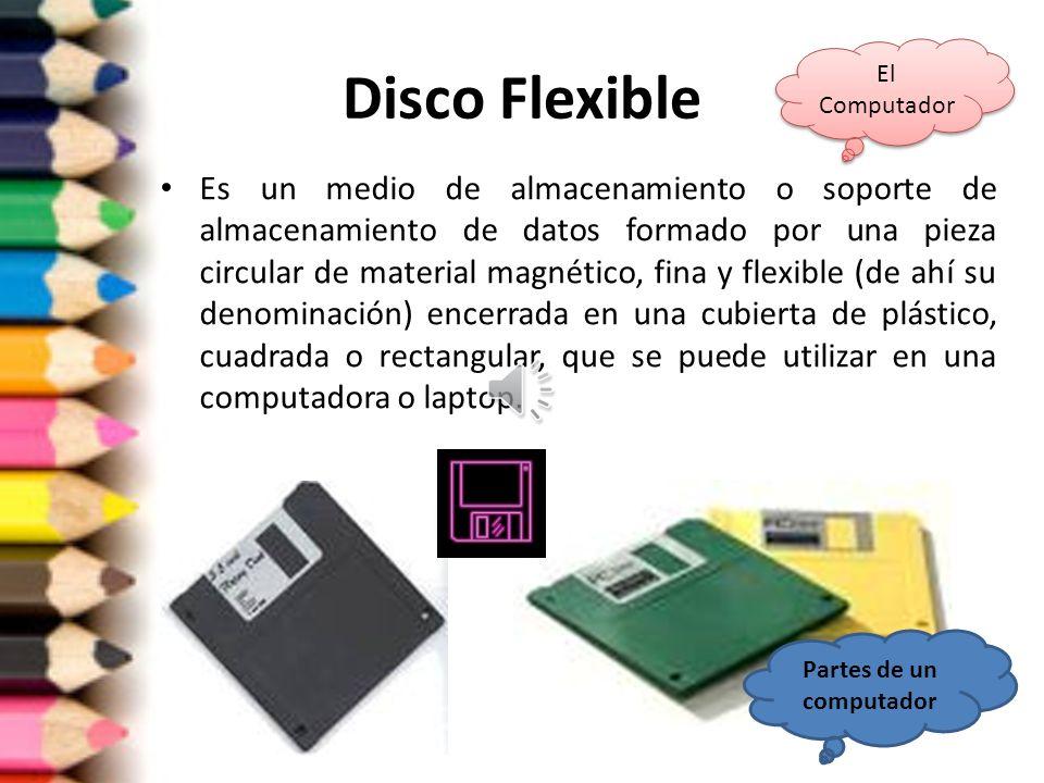Unidad de disco flexible Se le conoce también como floppy, drive o disquetera. El formato del disquete de 3 1/2 (llamado así porque el diámetro del di