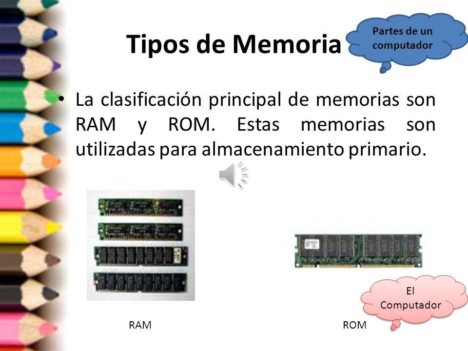 Memoria Dispositivo basado en circuitos que posibilitan el almacenamiento limitado de información y su posterior recuperación. Partes de un computador