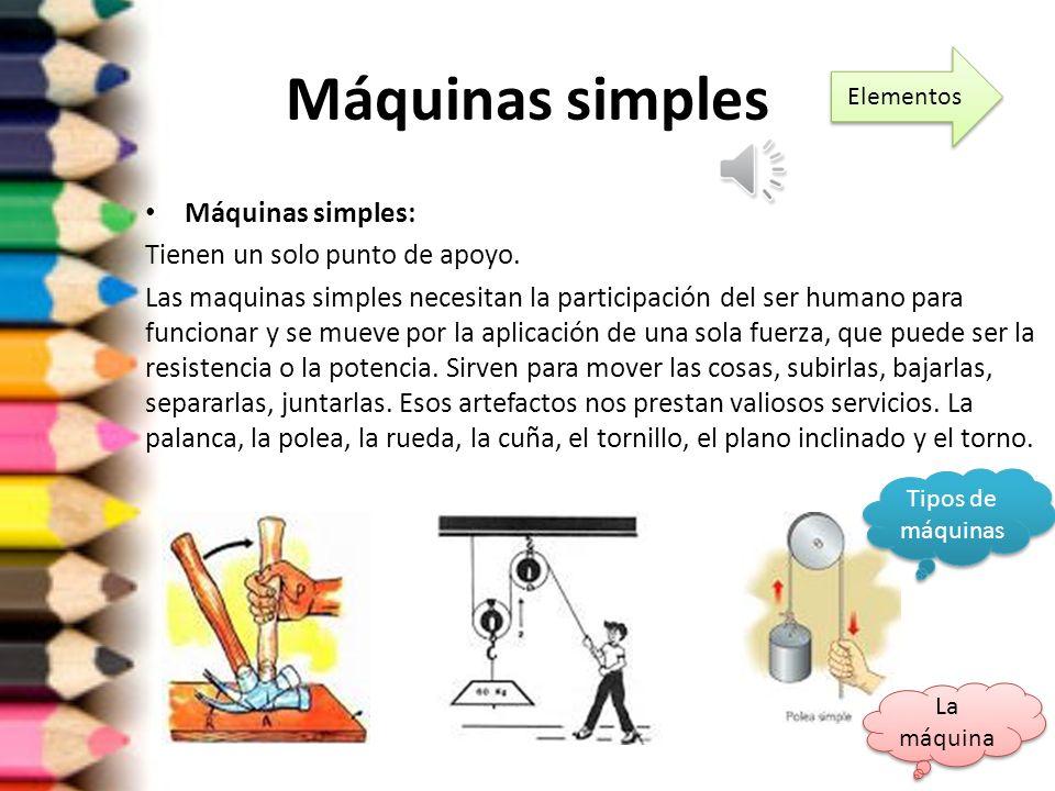 Tipos de Máquinas SIMPLES COMPUESTAS La máquina La máquina