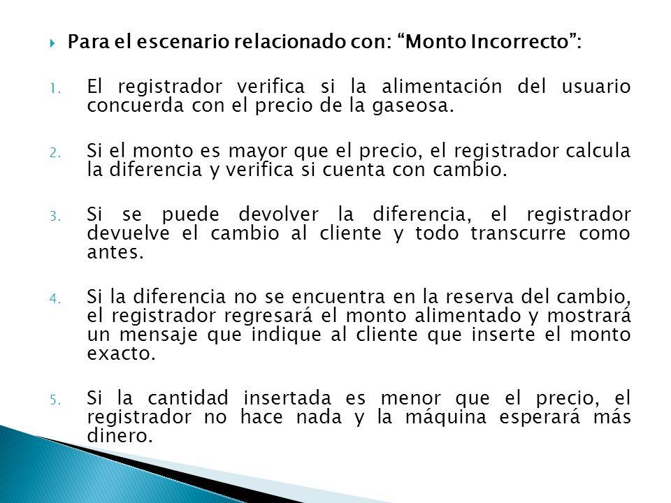 Para el escenario relacionado con: Monto Incorrecto: 1. El registrador verifica si la alimentación del usuario concuerda con el precio de la gaseosa.