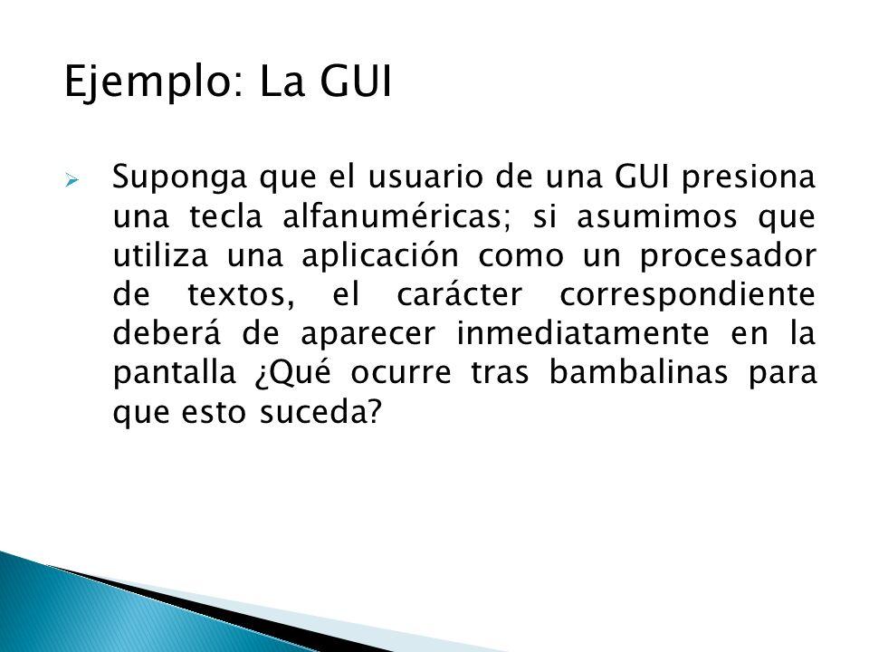 Ejemplo: La GUI Suponga que el usuario de una GUI presiona una tecla alfanuméricas; si asumimos que utiliza una aplicación como un procesador de texto