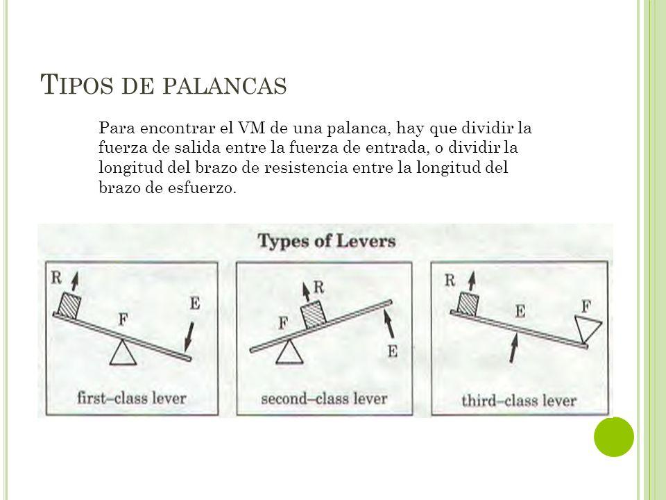 T IPOS DE PALANCAS Para encontrar el VM de una palanca, hay que dividir la fuerza de salida entre la fuerza de entrada, o dividir la longitud del braz