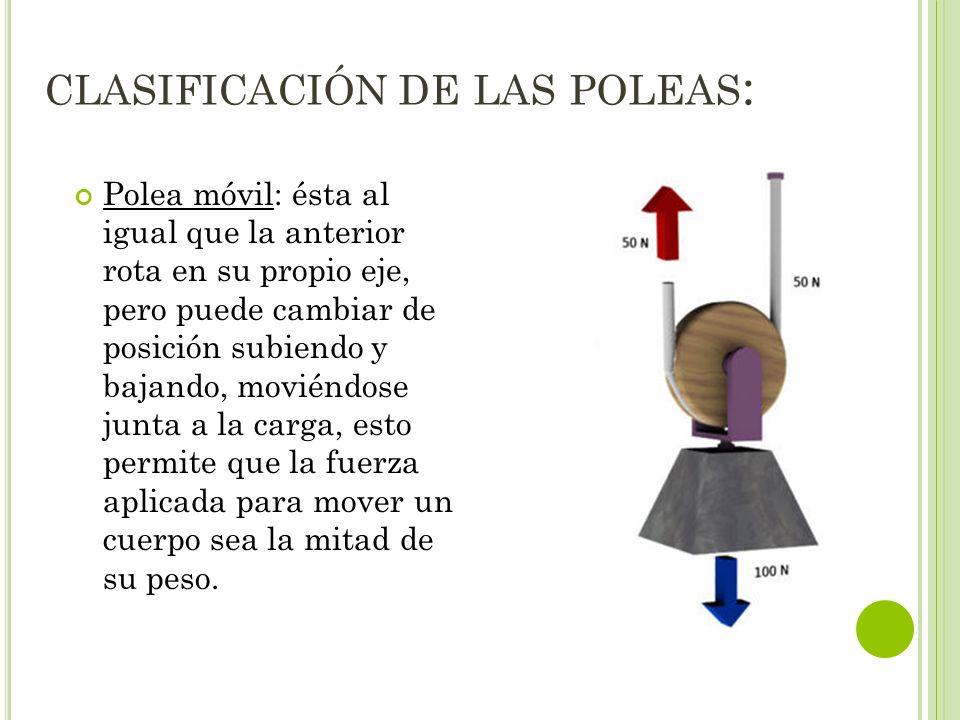 CLASIFICACIÓN DE LAS POLEAS : Polea móvil: ésta al igual que la anterior rota en su propio eje, pero puede cambiar de posición subiendo y bajando, mov