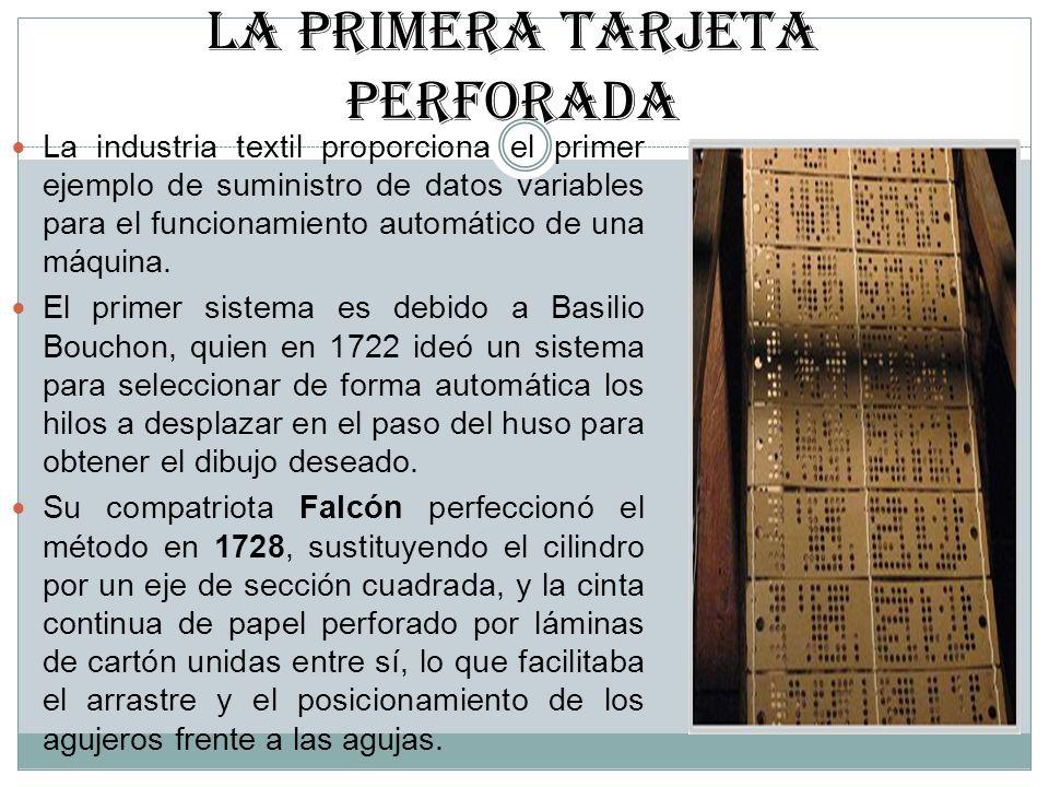 LA PRIMERA TARJETA PERFORADA La industria textil proporciona el primer ejemplo de suministro de datos variables para el funcionamiento automático de u